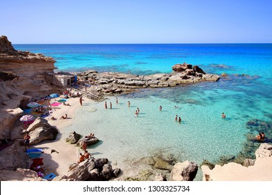 """Main view of """"Es calo d'es mort"""" beach, one of the most beautiful spots in Formentera, Balearic Islands, Spain."""