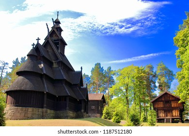 Main view of Gol Church,  a stave church originally built in Gol city, but now located in the Norwegian Museum of Cultural History at Bygdøy in Oslo, Norway.