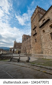 Main view of the Royal Monastery of Guadalupe, Caceres, Extremadura, Spain