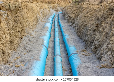 Main water line in the trench