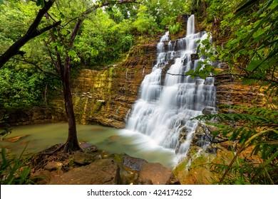 The main waterfall of Tarzan Falls is the largest section of the falls.  Santa Rita, Guam
