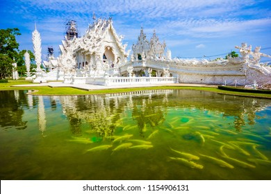 Main white temple Wat Rong Khun temple in Chiang Rai, Thailand in Asia