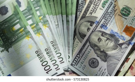 Main World currency note background with euro and us dollar against other countries banknotes.