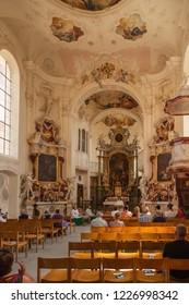 MAINAU ISLAND, GERMANY - JULY 23, 2018:Details from old church on german insel mainau