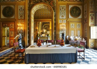 MAINCY, FRANCE -1 JULY 2016- Inside the Chateau de Vaux-le-Vicomte castle   opened in 1661. It belonged to Nicolas Fouquet, the Superintendent of Finances of French King Louis XIV.