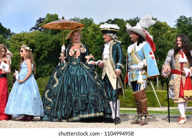 "MAINCY, FRANCE - June 3, 2018: 14th annual ""Grand Siècle"" Day at the Château de Vaux-le-Vicomte (southeast of Paris), a day spent costumed in the fashions of the 17th century."