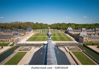 Maincy, France- May 6 2016: View from the top of the Chateau de Vaux-le-Vicomte. The castle belonged to Nicolas Fouquet, the Superintendent of Finances of French King Louis XIV.