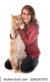 maine coon cat and woman in front of white background
