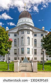 Maine State House, in Augusta, on a sunny day. The building was completed in 1832, one year after Augusta became the capital of Maine