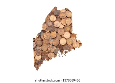 Maine State Map and Money Concept, Piles of Coins, Pennies