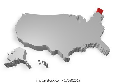 Maine state on Map of USA 3d model on white background