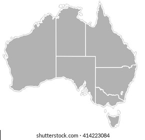 mainland of Australian continent, Tasmania, and numerous smaller islands - image stylized with grey silhouette on white background