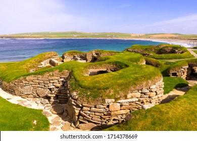 Mainland, Orkney, Scotland / United Kingdom - August 31, 2014: Skara Brae Neolithic settlement on the Bay of Skaill