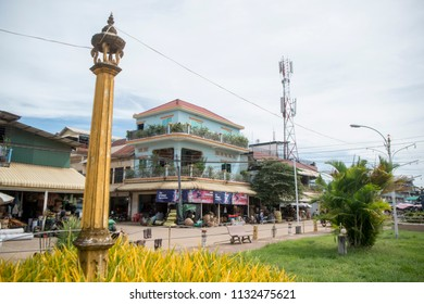 the mainroad in the city centre of Kampong Thom of Cambodia.  Cambodia, Kampong Thom, November, 2017,