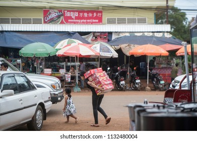 the mainroad in the city of Preah Vihear city of Cambodia.  Cambodia, Kampong Thom, November, 2017,
