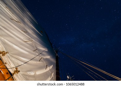 Mainsail with Spinning Stars - on historic wooden schooner