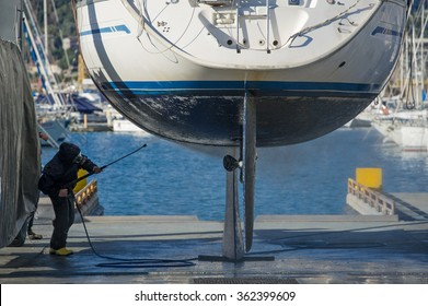 maintenance boat with high pressure water