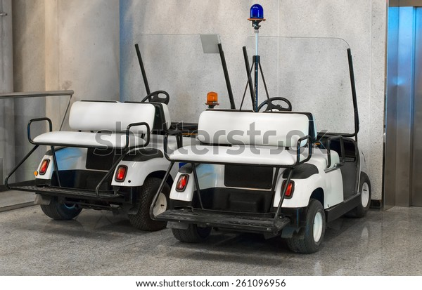 Maintenance personnel cars at the airport.