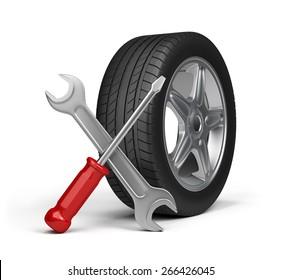 Maintenance repair of motor vehicles. 3d image. White background.