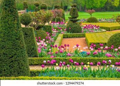 Maintenon, France - May 9 2018 : The park of Maintenon castle