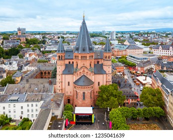 Mainz Cathedral aerial panoramic view, located at the market square of Mainz city in Germany