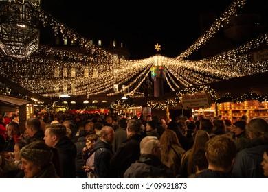 """Mainz, Germany 22. December 2018 Christmas market, """"Weihnachtsmarkt"""" in Mainz"""