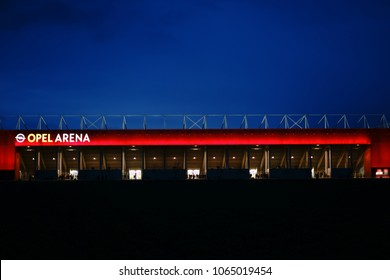 MAINZ, GERMANY - APRIL 01: The brightly lit Opel Arena of the football club 1. FSV Mainz 05 on the night of April 01, 2018 in Mainz.