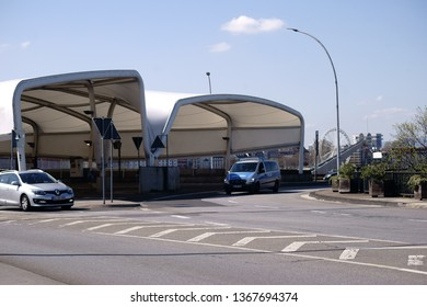 MAINZ, GERMANY - APRIL 07: Roundabout in front of the covered bus station of the stop Brückenkopf in Mainz Kastel on the Theodor-Heuss bridge on April 07, 2019 in Mainz.