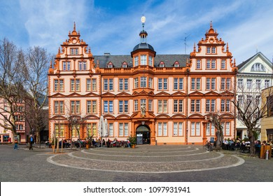 MAINZ, GERMANY - APRIL 14, 2013: house of Gutenberg in Mainz, Germany. The Gutenberg Museum is one of the oldest museums of printing in the world.
