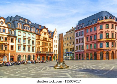 MAINZ, GERMANY - APRIL 14: beautiful market place on April 14, 2013 in Mainz, Germany. In the middle is the famous 1000 years old HHeunensaeule made of sandstone.