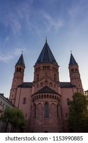 Mainz, Germany - Aug. 08, 2018 Old Cathedral (Dom Mainz) in capital city of Rheinland-Pfalz, Mainz