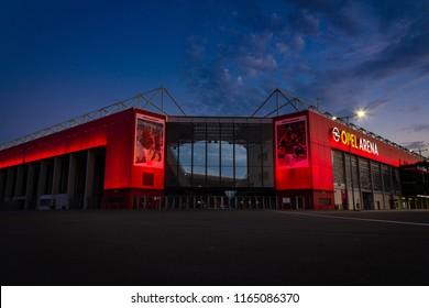 "Mainz, Germany - August 11, 2018: Opel Arena, Stadium of Bundesliga Club ""1. FSV Mainz 05"", illuminated during night"