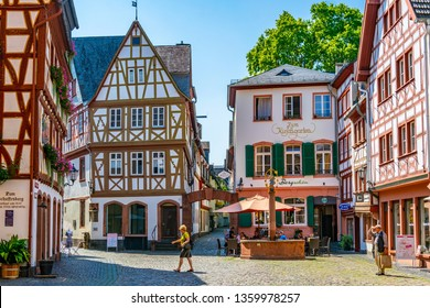 MAINZ, GERMANY, AUGUST 17, 2018: Classical timber houses in the center of Mainz, Germany