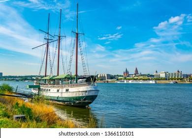 MAINZ, GERMANY, AUGUST 17, 2018:Mainz Kastel boat mooring near Mainz, Germany
