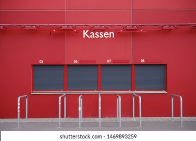 MAINZ, GERMANY - AUGUST 20: Closed ticket booth or ticket counter at the Opelarena of the 1. FSV Mainz 05 on August 20, 2017 in Mainz.