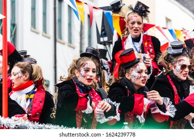 "MAINZ, GERMANY - FEBRUARY 27, 2017:  Unknown participants of the ""Rosenmontag parade"" dressed up on a parade float at the carnival in Mainz."