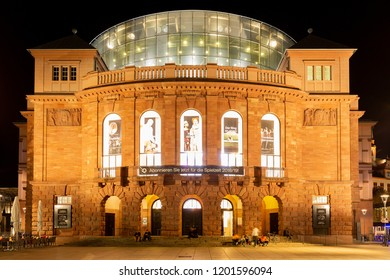 Mainz, Germany, Gutenbergplatz, October 12th. 2018 - Staatstheater Mainz at night. Build between 1829 and 1833 by the architect Georg Moller and unifies music theatre, theatrical performance and dance