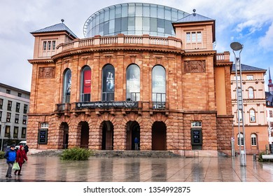 MAINZ, GERMANY - JANUARY 9, 2019: Mainz State Theatre (Staatstheater Mainz) – opera, drama and ballet theatre complex. The main building was constructed in 1833.