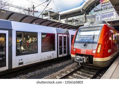 MAINZ, GERMANY - JANUARY 9, 2019: Mainz main railway station (Mainz Hauptbahnhof, formerly known as Centralbahnhof) - railway station for city of Mainz in German state of Rhineland-Palatinate.
