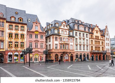 MAINZ, GERMANY - JANUARY 9, 2019: Picturesque architecture in old center of Mainz. Mainz is a German city on Rhine River, known for its Old Town.