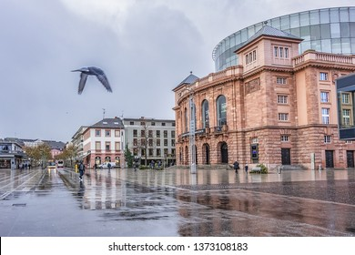 MAINZ, GERMANY - JANUARY 9, 2019: City view in old center of Mainz. Mainz is a German city on Rhine River, known for its Old Town.