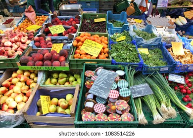 MAINZ, GERMANY - JULY 19, 2011: Farmer's market in Mainz, Germany. Mainz is the capital and largest city of the state of Rhineland-Palatinate.