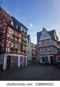 Mainz, Germany – July 28, 2017: Beautiful half-timbered houses at Kirschgarten in the historic oldtown in the German city of Mainz