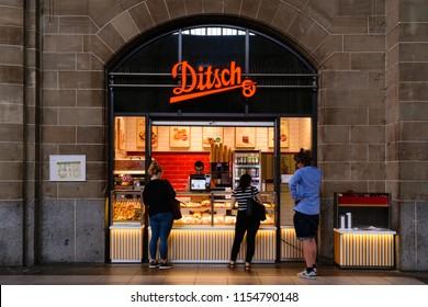 Mainz - Germany, July 5, 2018: shop inside the main train station in Mainz, Germany