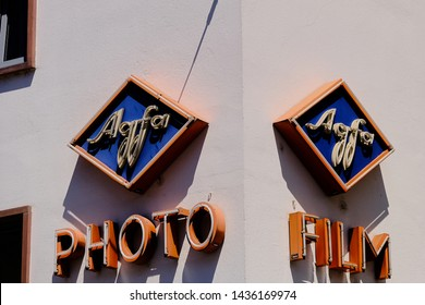 Mainz, Germany - June 27, 2019: Agfa logo on a house wall in Mainz, Germany. Agfa photo is a European photographic company, formed in 2004.