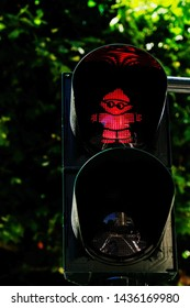 Mainz, Germany, June 27- 2019: Red traffic light figure which was specially designed for the city of Mainz, Germany.