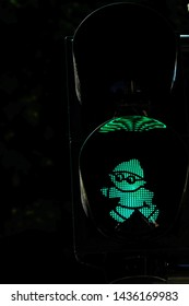 Mainz, Germany, June 27- 2019: Green traffic light figure which was specially designed for the city of Mainz, Germany.