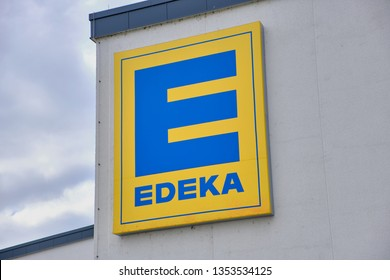 Mainz, Germany - March 29, 2019: Edeka supermarket signage. The Edeka Group is the largest German supermarket corporation