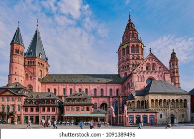 Mainz, Germany - May 15, 2018: Mainz cathedral (Mainzer Dom) in the old town of Mainz, Germany.