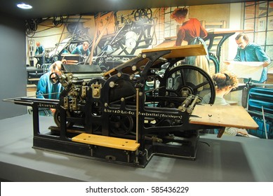 MAINZ, GERMANY - MAY 8, 2014. Cylinder machine for relief printing on display at the Gutenberg Museum in Mainz.